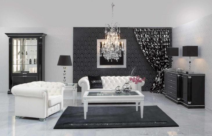 Мебель и аксессуары черно-белой комнаты