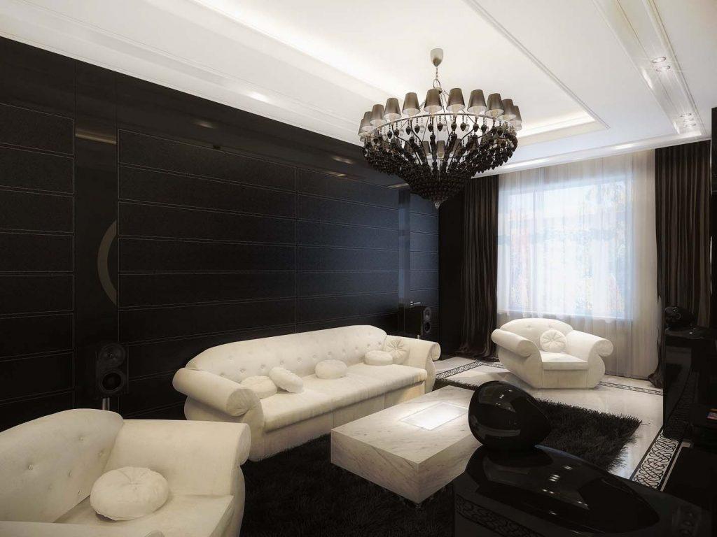 Интерьер гостиной. Черно-белый винтаж