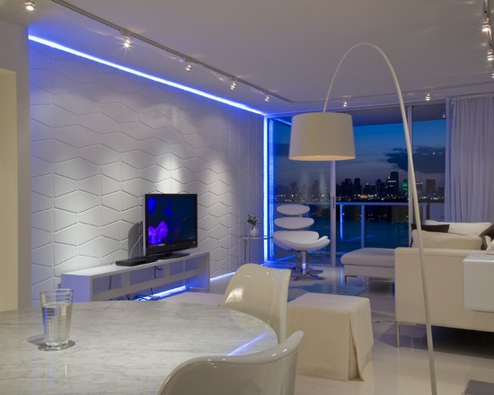Освещение гостиной в стиле хай-тек
