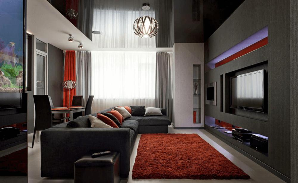 Интерьер гостиной в стиле хай-тек