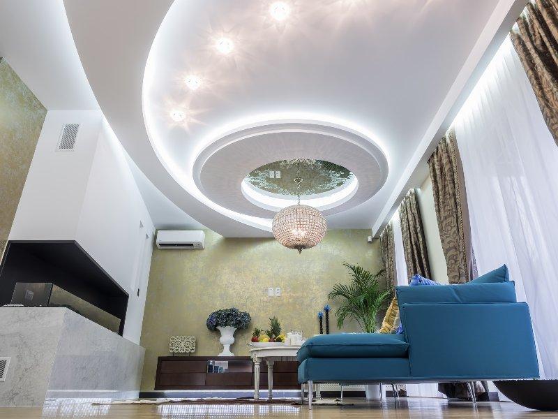 Интерьер многоуровневого потолка