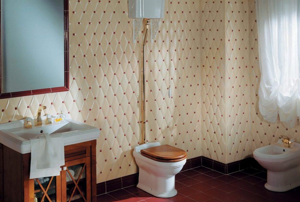 Отделка пола ванной комнаты элитным кафелем