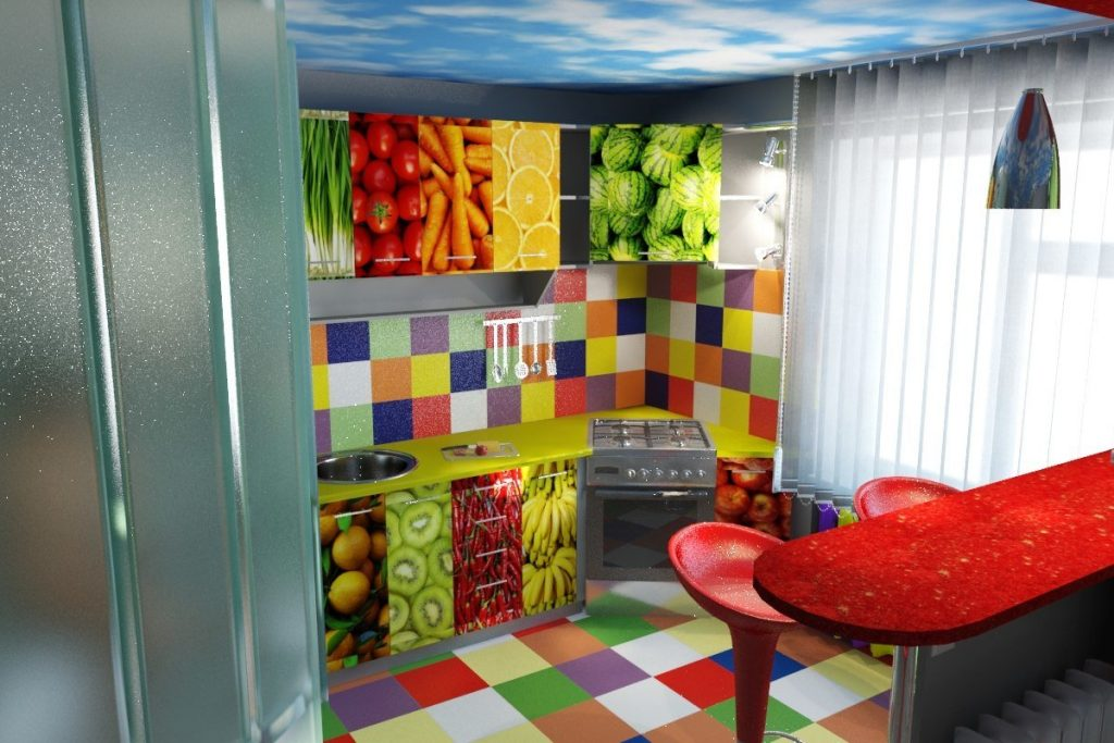 Интерьер кухни в стиле поп-арт