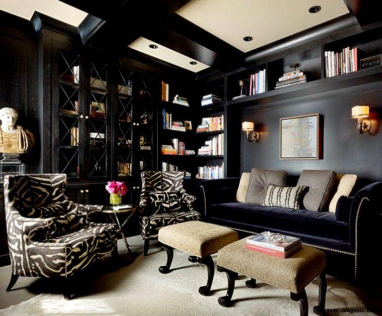Вариант гостиной в темных тонах в стиле ретро
